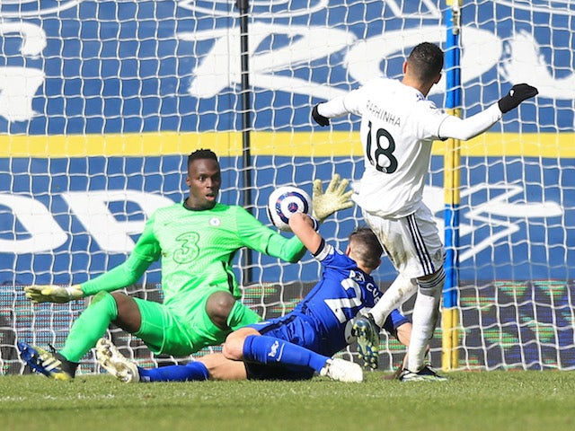 Chelsea's Edouard Mendy makes a save during the Premier League clash with Leeds United on March 13, 2021