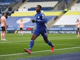 Leicester City's Kelechi Iheanacho celebrates scoring against Sheffield United in the Premier League on March 14, 2021