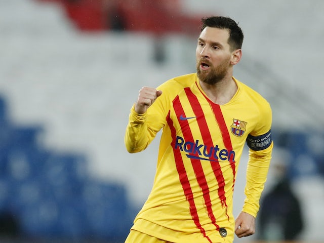 Lionel Messi celebrates scoring for Barcelona on March 10, 2021