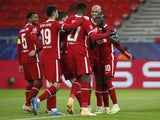 Liverpool's Sadio Mane celebrates scoring against RB Leipzig in the Champions League on March 10, 2021