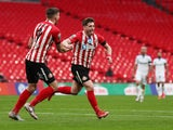 Sunderland's Lynden Gooch scores against Tranmere Rovers in the EFL Trophy final on March 14, 2021