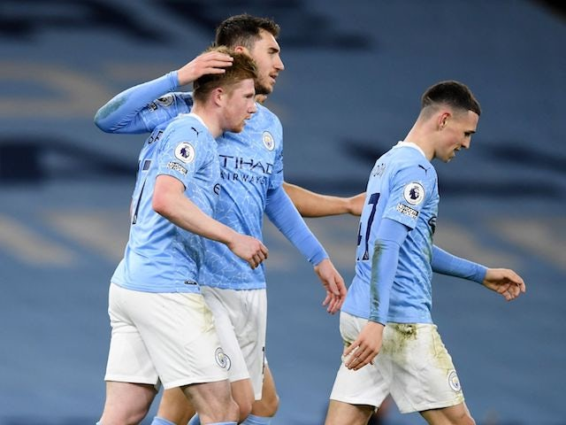 Manchester City's Kevin De Bruyne celebrates scoring against Southampton in the Premier League on March 10, 2021