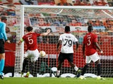 Manchester United's Harry Maguire misses an open goal against AC Milan in the Europa League on March 11, 2021