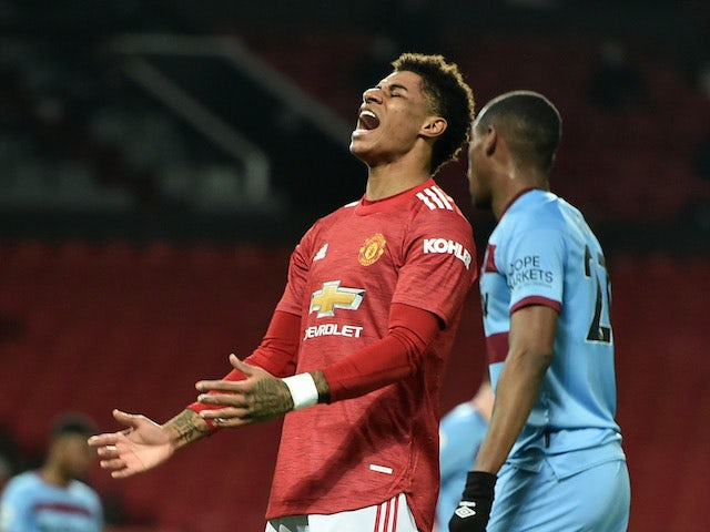 Manchester United's Marcus Rashford reacts after missing a chance against West Ham United in the Premier League on March 14, 2021