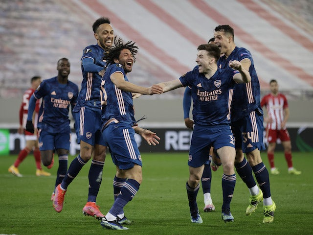 Arsenal's Mohamed Elneny celebrates scoring against Olympiacos in the Europa League on March 11, 2021