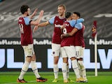 Jesse Lingard celebrates scoring for West Ham United against Leeds United in the Premier League on March 8, 2021