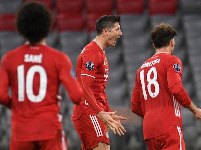 Bayern Munich's Robert Lewandowski celebrates scoring against Lazio in the Champions League on March 17, 2021