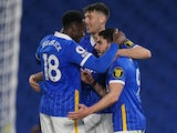 Brighton & Hove Albion's Neal Maupay celebrates scoring their third goal against Newcastle United in the Premier League on March 20, 2021