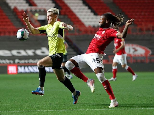 Northampton Town's Ryan Watson and Bristol City's Kasey Palmer in the EFL Cup on September 16, 2020