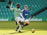 Celtic's Odsonne Edouard shoots at goal against Rangers in the Scottish Premiership on March 21, 2021