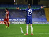 Chelsea's Hakim Ziyech celebrates scoring against Atletico Madrid in the Champions League on March 17, 2021