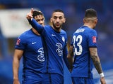 Chelsea's Hakim Ziyech celebrates scoring against Sheffield United in the FA Cup on March 21, 2021