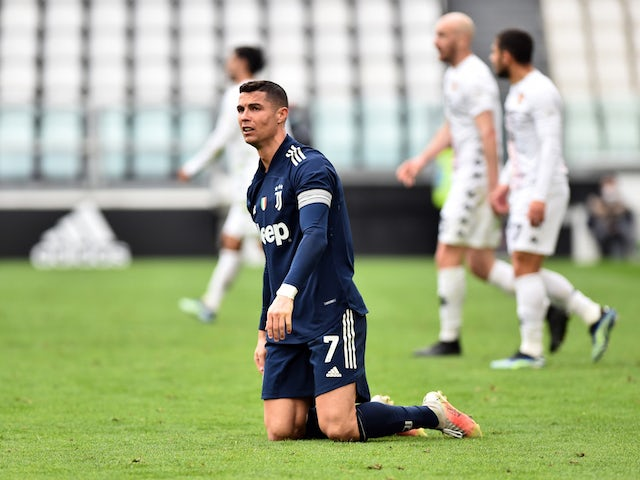 Juventus attacker Cristiano Ronaldo reacts during the Serie A clash with Benevento on March 21, 2021