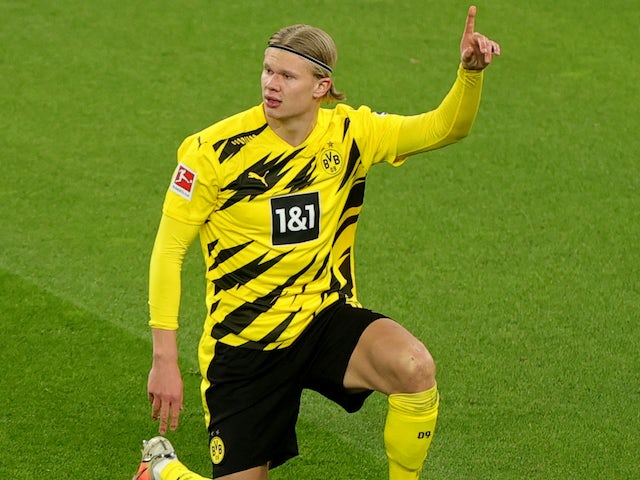 Erling Braut Haaland in action for Borussia Dortmund on March 13, 2021
