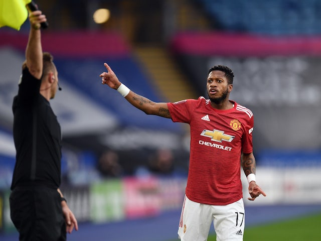 Manchester United's Fred in action against Leicester City in the FA Cup on March 21, 2021