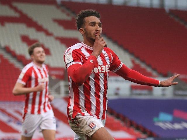 Stoke City's Jacob Brown celebrates scoring their first goal on March 20, 2021