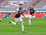 West Ham United's Jesse Lingard celebrates scoring against Arsenal in the Premier League on March 21, 2021