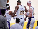 Los Angeles Lakers forward LeBron James is injured against the Atlanta Hawks on March 20, 2021