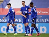 Leicester City's Kelechi Iheanacho celebrates scoring against Manchester United in the FA Cup on March 21, 2021