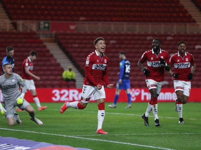 Middlesbrough's Marcus Tavernier celebrates scoring their second goal against Preston North End in the Championship on March 16, 2021