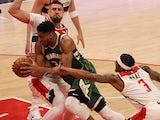 Milwaukee Bucks forward Giannis Antetokounmpo drives to the basket as Washington Wizards on March 15, 2021