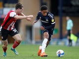 Southend United's Nathan Ralph in action with Exeter City's Josh Key in League Two on October 10, 2020