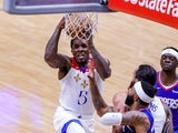New Orleans Pelicans guard Eric Bledsoe drives to the basket against LA Clippers on March 15, 2021
