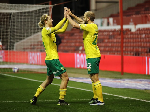 Norwich City's Teemu Pukki celebrates scoring against Nottingham Forest in the Championship on March 17, 2021
