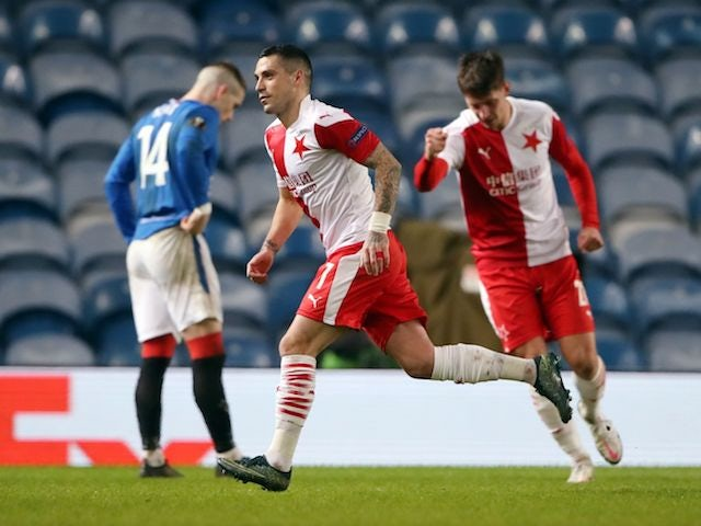 Slavia Prague's Nicolae Stanciu celebrates scoring against Rangers in the Europa League on March 18, 2021