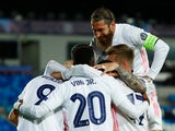 Real Madrid's Karim Benzema celebrates scoring their first goal against Atalanta in the Champions League on March 16, 2021