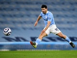 Sergio Aguero in action for Manchester City on March 10, 2021