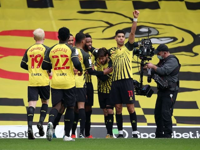 Watford's Nathaniel Chalobah celebrates scoring their second goal with teammates on March 20, 2021