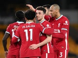 Diogo Jota celebrates scoring for Liverpool against Wolverhampton Wanderers in the Premier League on March 15, 2021