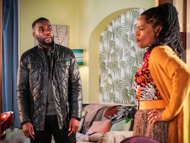 Isaac and Sheree on EastEnders on April 5, 2021