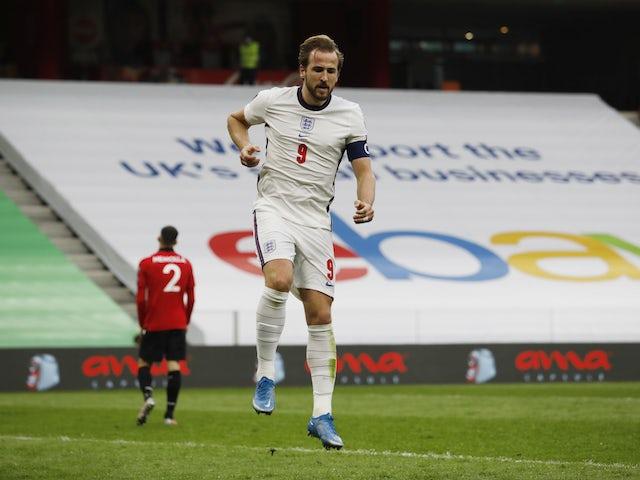 England's Harry Kane celebrates scoring against Albania on March 28, 2021
