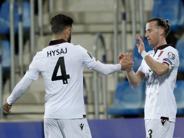 L'Albania Ermir Langani ha festeggiato il suo primo gol con Hisag il 25 marzo 2021
