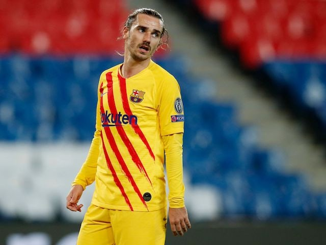 Antoine Griezmann in action for Barcelona on March 10, 2021