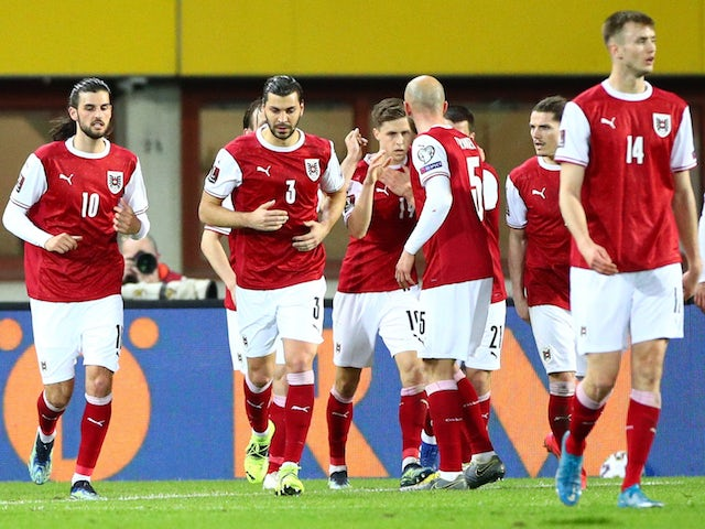 Austria's Christoph Baumgartner celebrates scoring their second goal with teammates on March 28, 2021