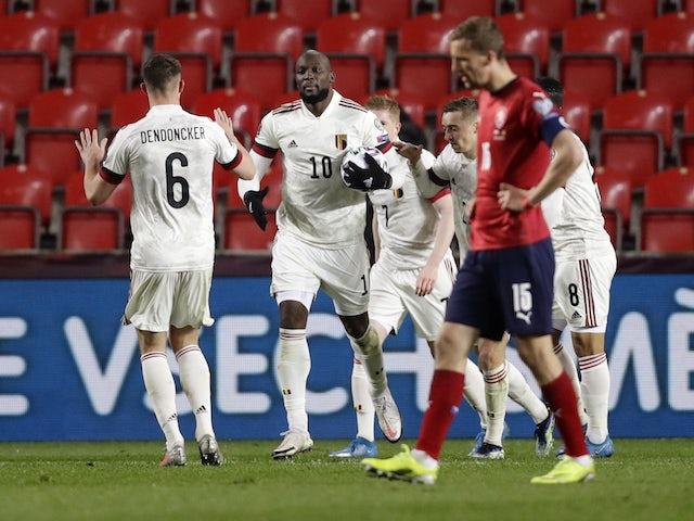 Belgium's Romelu Lukaku celebrates scoring their first goal with teammates on March 27, 2021