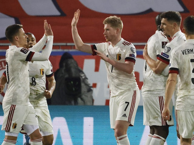 Belgium's Kevin De Bruyne celebrates scoring against Wales on March 24, 2021