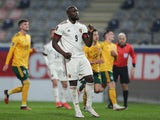 Belgium's Romelu Lukaku celebrates scoring against Wales on March 24, 2021