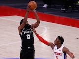 Brooklyn Nets guard James Harden shoots over Detroit Pistons guard Hamidou Diallo on March 27, 2021