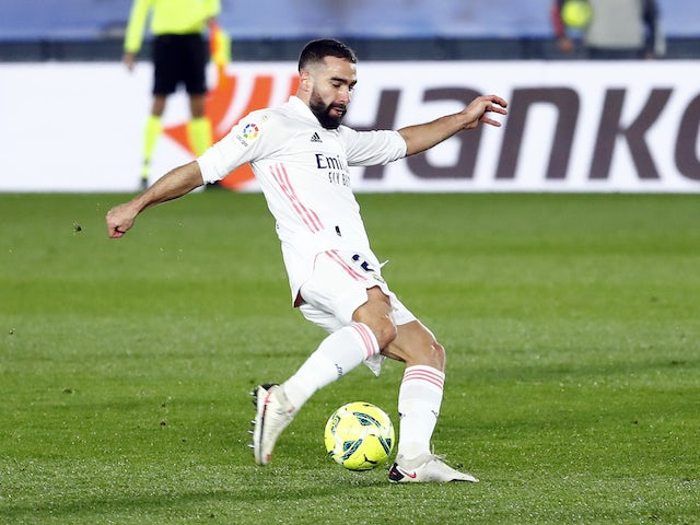 Real Madrid's Dani Carvajal in action in December 2020