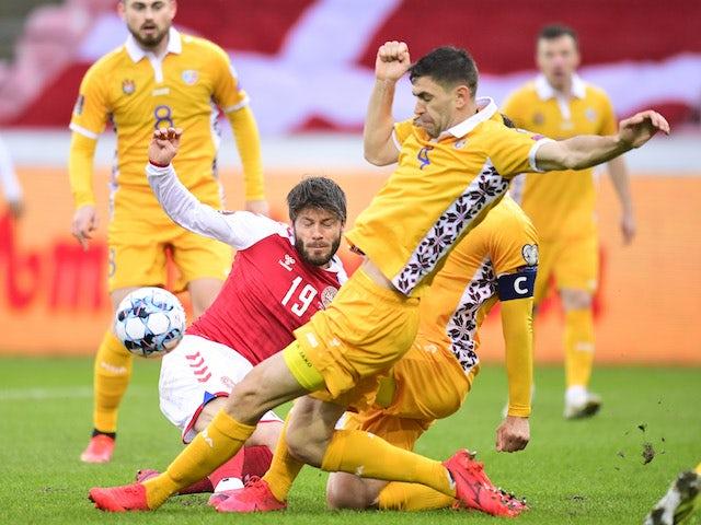Denmark's Lasse Schone in action with Moldova's Igor Armas Ritzau on March 28, 2021