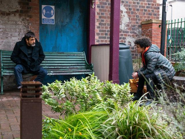 Peter and Simon on Coronation Street on April 9, 2021