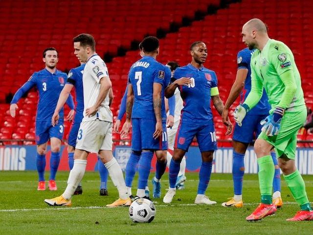 England's Raheem Sterling celebrates scoring against San Marino on March 25, 2021