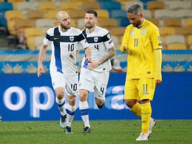 Finland's Teemu Pukki celebrates scoring their first goal on March 28, 2021