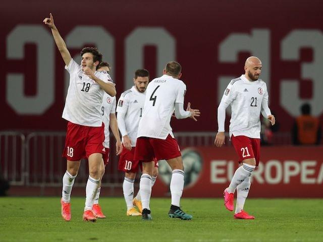 Georgia's Khvicha Kvaratskhelia celebrates scoring their first goal on March 28, 2021