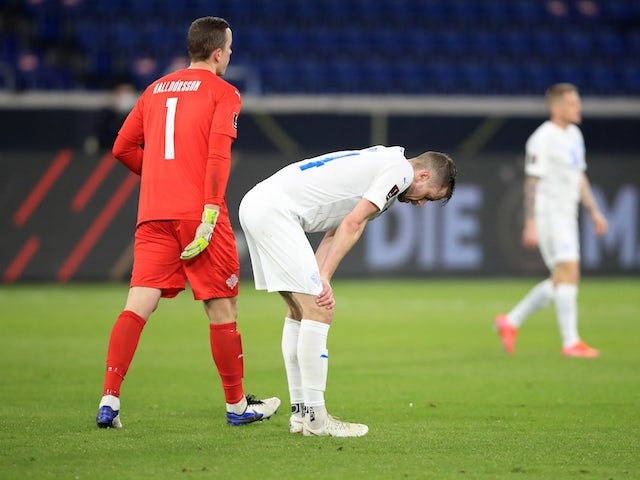 Iceland's Kari Arnason looks dejected after the match on March 25, 2021