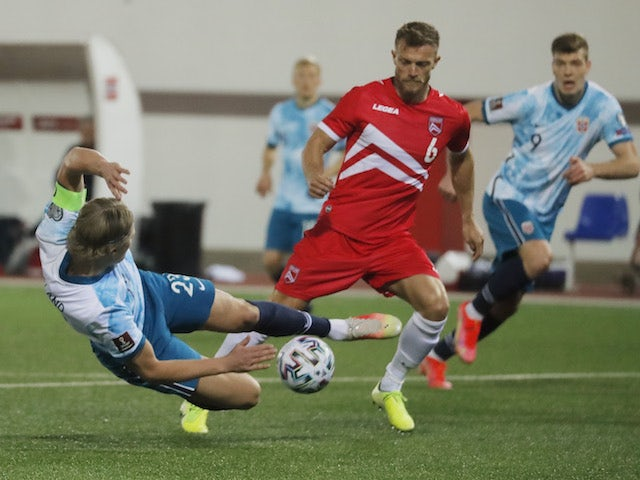 Norway's Erling Haaland in action with Gibraltar's Scott Wiseman on March 24, 2021